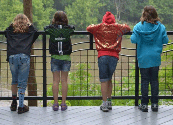 Children - Four Kids on a Bridge